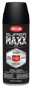Krylon K08974000 SUPERMAXX Spray Paint, Satin Black 12 ounce